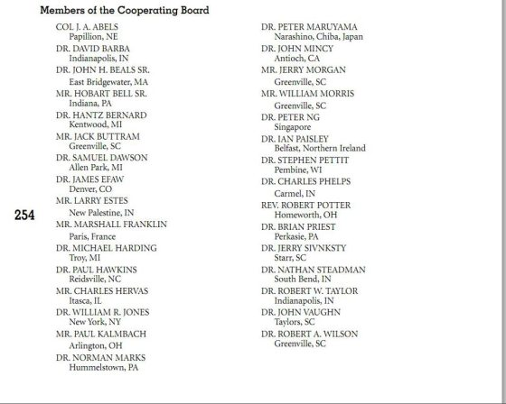 2011 Bob Jones University Cooperating Board Members listed in BJU Catalog Page 254