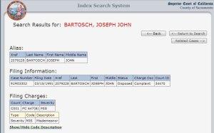 Joseph Bartosh California Conviction